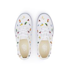 Vans Bird Embroidery Authentic Sneaker ❤ liked on Polyvore featuring shoes, sneakers, embroidered sneakers, vans trainers, vans shoes, vans footwear and vans sneakers