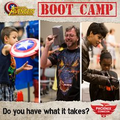 The Arizona Avengers are back and looking for more future Avengers! Come see if you have what it takes to wield Thor's hammer, Captain America's shield, or Hawkeye's bow and become one of Arizona's mightiest heroes! Join us for the Avengers Boot Camp happening Friday, June 6 at Phoenix Comicon 2014!