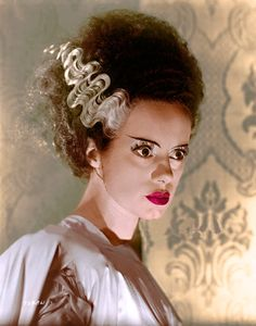 bride of frankenstein, film, elsa lanchester Retro Horror, Horror Icons, Vintage Horror, Horror Films, Horror Art, Bride Of Frankenstein Makeup, The Frankenstein, Beetlejuice, Elsa Lanchester
