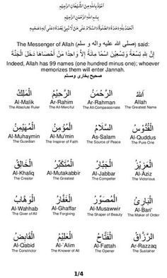 99 Names of ALLAH * 1 name is missing - Al-Qahhar.