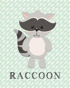 Free RACCOON, bear, owl, frog woodland animal printables!! Super cute for a nursery, dayhome, kindergarten, playroom, baby shower gift!! Www.mishmashbyash.com