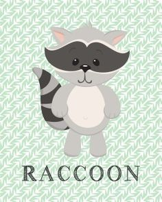 Free RACCOON, bear, owl, frog woodland animal printables!! Super cute for a nursery, dayhome, kindergarten, playroom, baby shower gift!! Www.mishmashbyash.com