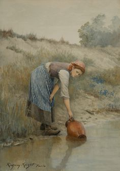 """THE WATER CARRIER"" Artist: Daniel Ridgway Knight (American: 1839-1924)"