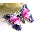 Best Crystal Purple Pink Rhinestone Butterfly Broach Brooch Pin Free Ship