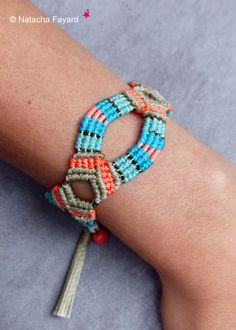 Micro macrame boho bohemian chic turquoise blue linen coral neon bracelet myuki tassel charms french jewelry designer made in France