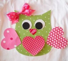 Valentine Owl Applique with Ribbon Ready to Use Applique made from premium cotton fabrics. Adhesive backing is used. You may still choose Owl Applique, Applique Designs, Valentine Crafts For Kids, Valentines, Decoration St Valentin, Cadeau St Valentin, Owl Pictures, Cute Crafts, Art For Kids