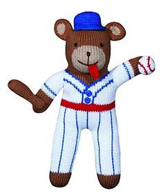 Zubels Baseball Bear Bob 24-inch Hand-Knit Doll