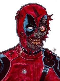 Zombie Art : Zombie Deadpool - Zombie Art by Rob Sacchetto Zombie Crawl, Zombie Art, Photomontage, Zombie Monster, Comics Toons, Dark Disney, Kodak Moment, Famous Monsters, Weird Art
