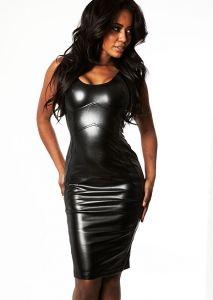 'Valentina' Black Leatherette Bodycon Dress