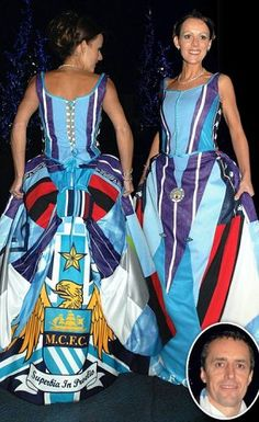 Wedding dress made from old Man City shirts - Unconventional but strangely beautiful and she looks lovely in it!