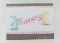 Happy Easter banner card with fluffy bunny bums :) Amped2Stamp.com/Amuse Studio
