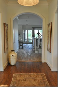 The front part of the house has the more typical West U dark hardwood floors, but instantly your eye is drawn to the unusual – gorgeous brick floors that run throughout the more casual areas of the house.