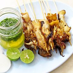 Thai grilled squid with green sauce....we still have so much squid in the freezer from the run over the summer...try?