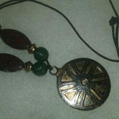 Hippy Boho Necklace Long Medallion Vintage Great retro pendant on black cord. Boho chic!?? Vintage Jewelry Necklaces