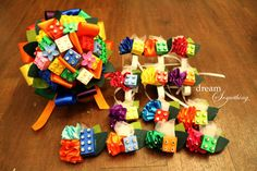 Creative Lego Bouquet with Groom's by DreamSomethingEshop on Etsy