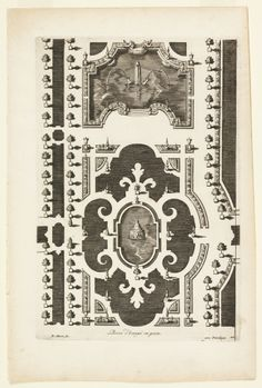 "Print, ""Design for a Garden Parterre of Cut Grass and Colored Gravel, from ""Nouveaux Livre de Parterres,"" in Oeuvres Du Sr. D. Marot..., The..."