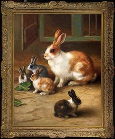 Old+Master-Art+Antique+wildlife+Animal+Oil+painting+Portrait+Rabbit+on+canvas++#Realism