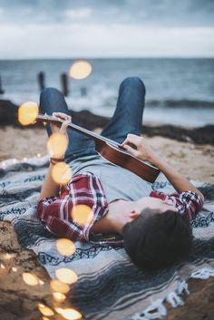 Brandon Woelfel // phootgraphy // men // portrait // adventure // guitar // lights // beach // ocean //