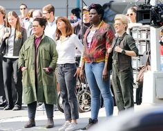 Melissa McCarthy, Kristen Wiig, Leslie Jones, and Kate McKinnon perform on the set of 'Ghostbusters' in NYC on September 19, 2015.