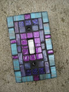 Mosaic Light Switch Cover  Teal and Purple by MariposaMosaics, $18.00