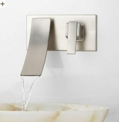 Wall mounted waterfall faucet w/ down facing spout