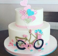 Torta bici Birthday Cake For Women Elegant, Birthday Cakes For Women, Birthday Cake Girls, Bicycle Cake, Bike Cakes, Cake Decorating Amazing, 60th Birthday Cakes, Ballerina Cakes, Spring Cake