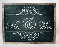 Mr And Mrs Metal Sign, Wedding Framed On Rustic Wood, Love, Anniversary, Gift Rustic Wedding Signs, Chalkboard Wedding, Chalkboard Signs, Wedding Ideas, Metal Letters, Metal Signs, Love Anniversary, Mr And Mrs Wedding, Chalk Art