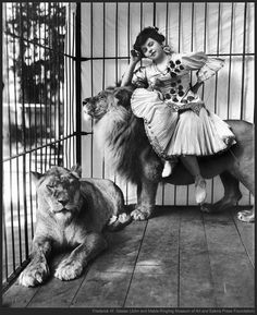 Vintage circus girl with lions