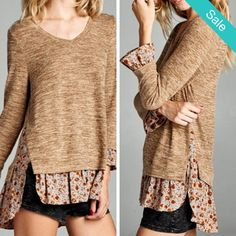 Boho Layered Hem Shirt - ...Sugar and spice this one is everything nice!  With this on you won't have to be! ;-)  Description: Round neck, 3/4 sleeve top with printed lace layered hems. - On Sale for $29.00 (was $49.00)
