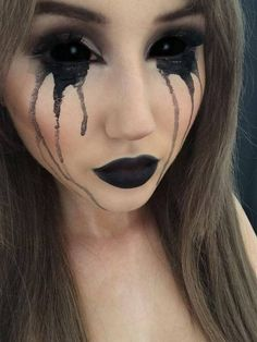 Image via We Heart It #artsy #blackeyes #colourful #creative #Halloween #makeup #natasha #pretty #vintage #mua #ahs #scleralenses #americanhorrorstory #natashamorley