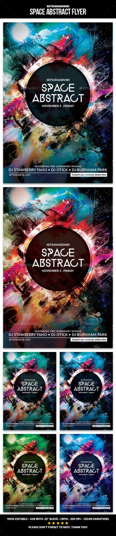 Space Abstract Flyer - This flyer is perfect for promoting your next techno/electro/dubsteb musical night party.