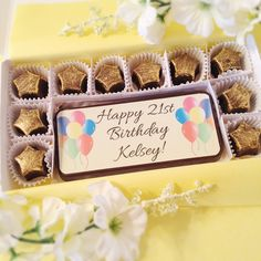 Chocolate Birthday Card. Personalized chocolate birthday greeting with a delicious edible balloon design. It's a decadent chocolate birthday card. A perfect gift for the person who has everything. Easily personalize it to read just how you would like. By Diamond Chocolates