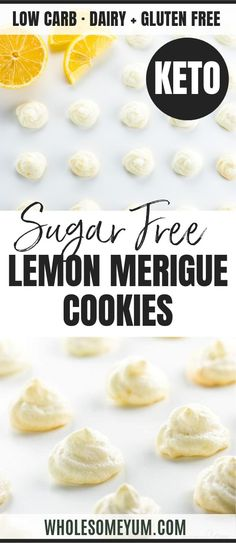 Easy Sugar-Free Lemon Meringue Cookies Recipe - 4 Ingredients - See how to make meringue cookies that are healthy & delicious! These easy sugar-free lemon meringue cookies without cream of tartar need just 4 ingredients. Low Carb Desserts, Easy Desserts, Low Carb Recipes, Dessert Recipes, Breakfast Recipes, Paleo Dessert, Healthy Desserts, Free Recipes, Snack Recipes