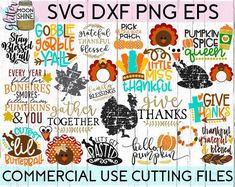 HUGE Thanksgiving Bundle svg dxf png eps Files for Cutting Machines Cameo Cricut, Turkey, Fall, Grat Little Falls, Cardmaking And Papercraft, Thankful And Blessed, Cute Pumpkin, Silhouette Studio Designer Edition, Monogram Frame, Digital Form, Photo Cards, My Images