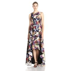 Adrianna Papell Women's Sleeveless Floral Charm Gown