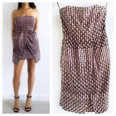 """Banana Republic Strapless Print Dress Banana Republic Strapless Print Dress! This dress is perfect for that special spring occasion! Excellent condition. Invisible back zipper . Material- 99% silk 1% other. Boned bodice. Has invisible hip pockets for lip gloss and cell phone! Measurements- Chest-31"""" waist-26"""" hips-36"""" length-30"""" fits true to size 0. Banana Republic Dresses Strapless"""