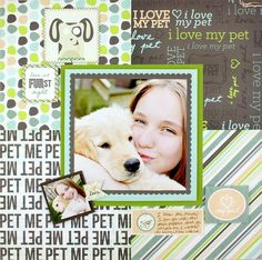 Scrapbook layout: Cute way to use a bunch of different bold prints.