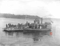 Ferry T. Richardson and probably the barge Elk, between (based on the 46 star flag) at Yaquina Bay, Lincoln County, Oregon. Steam Boats, Elk, Ancestry, West Coast, Old Photos, Lincoln, Trains, Oregon, Sailing