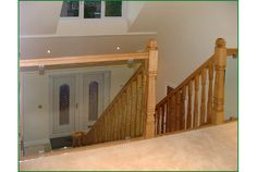 Warren Lane Glass Balcony Staircase Oak Handrail, Metal Spindles, Banisters, Glass Balcony, Refurbishment, Glass Panels, Landing, Stairs, Home Decor