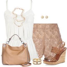 Lace Shorts and Wedges