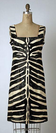 Dress, Designer: Emeric Partos Department Store: for Bergdorf Goodman (American, founded 1899) Date: fall/winter 1965–66 Culture: American Medium: fur, silk