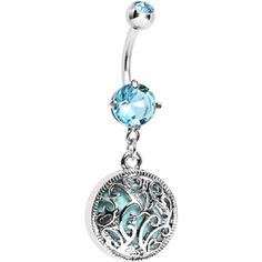 Ornate Decorative Semi Precious Turquoise Stone Dangle Belly Ring | Body Candy Body Jewelry