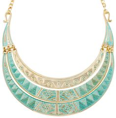 Material:  Gold-tone, triple necklace in fresh ethnic style with turquoise-coloured, enamelled decorations.            Length:  44 - 51 cm      Width:   max. 4 cm