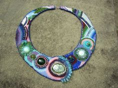 Statement Necklace in Emerald Sapphire by LisaPierceJewelry, $1375.00
