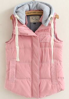 Pink Zipper Collar With Hat Thick Vest Coat - Outerwears - Tops