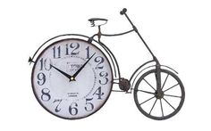 Antiqued metal clock with a vintage-inspired bicycle design. Product: Wall clockConstruction Material: Metal alloyColor: Antiqued black and whiteAccommodates: Batteries - not included Features: Bicycle motif Dimensions: H x W x D Cool Stuff, Desk Clock, Alarm Clock, Joss Y Main, Bicycle Clock, Bicycle Decor, Tabletop Clocks, Metal Clock, Old Clocks