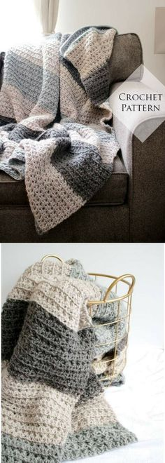 Let's Stay Home Blanket Crochet Pattern // PDF Pattern Throw Blanket for Two Neutral Stripe Texture Chunky Couch Afghan Beginner Friendly// Pattern Available for Download after purchase #ad