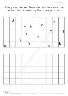 """In the """"Copy Letter Block Positions"""" worksheets, the student must copy the letters from the top box to the bottom box in exactly the same positions. Learning For Life, Visual Learning, Figure Ground Perception, Block Lettering, Worksheets, Positivity, Student, Letters, Box"""