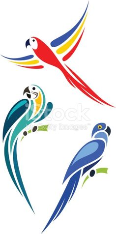 'Stylized parrots - Gold and Blue Macaw, Scarlet Macaw and Hyacinth Macaw'