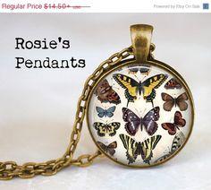 AFTER CHRISTMAS SALE Vintage Butterflies Pendant by RosiesPendants